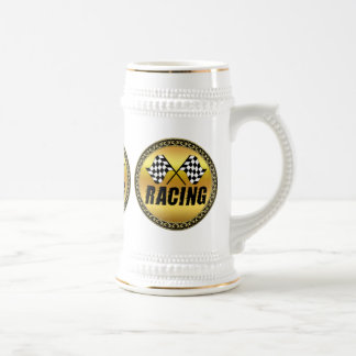 Two checkered racing flags for the competition win beer stein