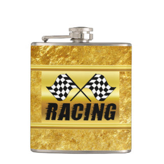 Two checkered racing flags for the competition win hip flask
