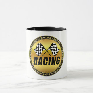 Two checkered racing flags for the competition win mug