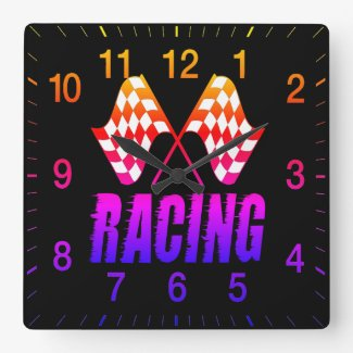 checkered flags square wall clock