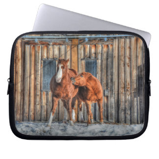 Two Cheeky Horses and a Barn Equine Photo Laptop Sleeve