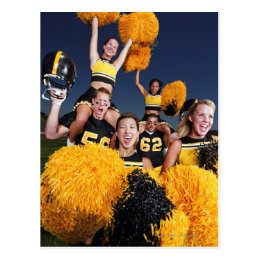 Two cheerleaders riding on shoulders of football postcard