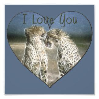 Two Cheetahs Kissing I Love You Photograph