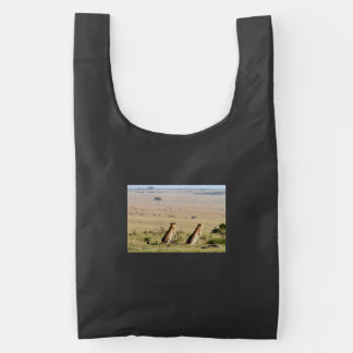 Two cheetahs on the look out reusable bag