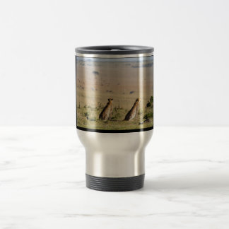 Two cheetahs on the look out travel mug