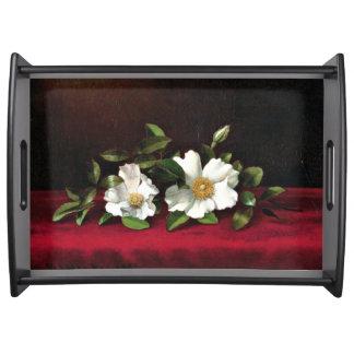 Two Cherokee Roses on Red Velvet Serving Tray