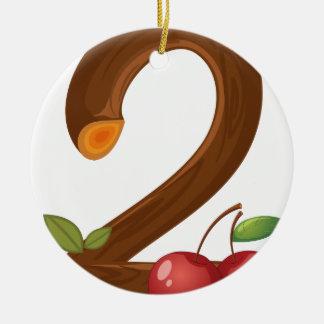 Two cherries ceramic ornament