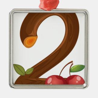 Two cherries metal ornament