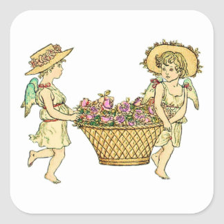 Two Cherubs Carrying Flowers Square Sticker
