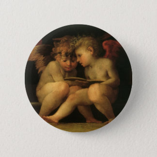 Two Cherubs Reading by Rosso Fiorentino, Angels Button