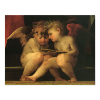 Two Cherubs Reading by Rosso Fiorentino, Angels Card
