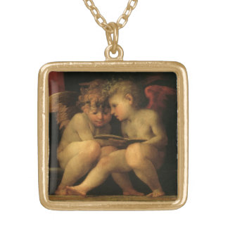 Two Cherubs Reading by Rosso Fiorentino, Angels Gold Plated Necklace