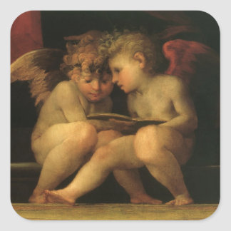 Two Cherubs Reading by Rosso Fiorentino, Angels Square Sticker