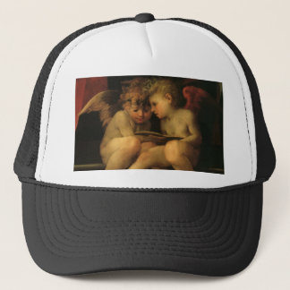 Two Cherubs Reading by Rosso Fiorentino, Angels Trucker Hat