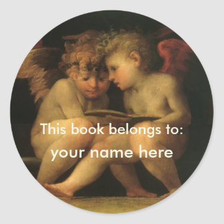 Two Cherubs Reading by Rosso Fiorentino Bookplate Round Stickers