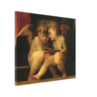 Two Cherubs Reading by Rosso Fiorentino Canvas Print