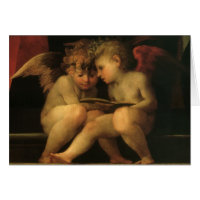 Two Cherubs Reading by Rosso Fiorentino Greeting Card