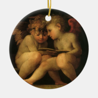 Two Cherubs Reading by Rosso Fiorentino Ceramic Ornament