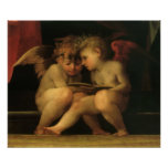 Two Cherubs Reading by Rosso Fiorentino Posters