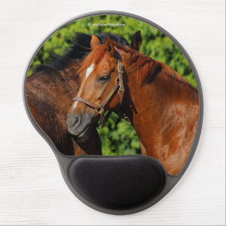 Two Chestnut Horses: Lean on Me Gel Mouse Pad