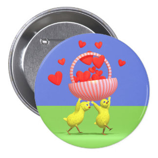 Two Chickens with Basket of Valentine Hearts Pinback Button