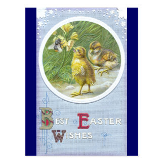 Two Chicks & a Bee Vintage Easter Card
