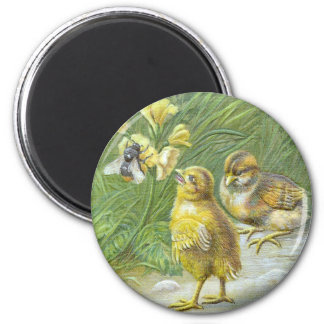 Two Chicks & a Bee Vintage Easter Card Magnet