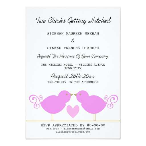 Two chicks getting hitched lesbian wedding custom invitation for Gay wedding shower invitations