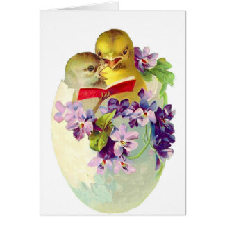 Two Chicks in Egg Shell Sing From Songbook Card
