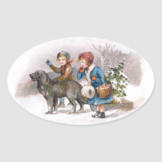 Two children and a dog oval sticker