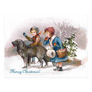 Two children and a dog postcard