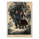 Two children collecting a Christmas tree and ivy Greeting Card
