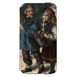 Two children collecting a Christmas tree and ivy iPhone 6/6s Wallet Case