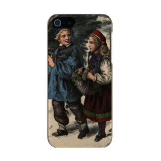 Two children collecting a Christmas tree and ivy Metallic Phone Case For iPhone SE/5/5s