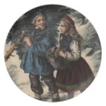 Two children collecting a Christmas tree and ivy Plates