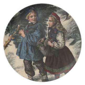 Two children collecting a Christmas tree and ivy Plate