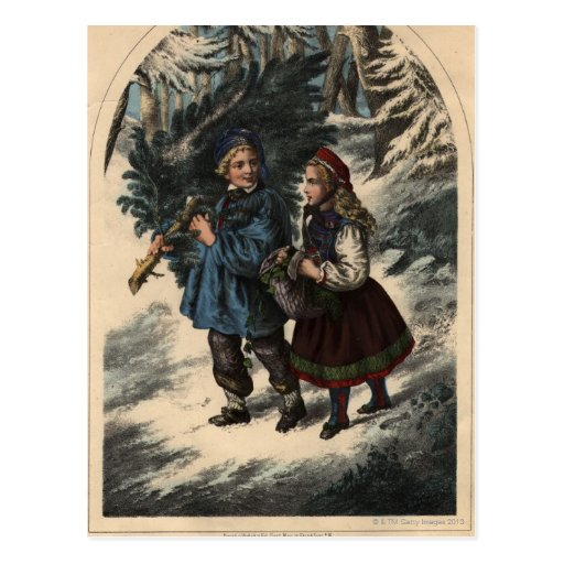 Two children collecting a Christmas tree and ivy Post Cards
