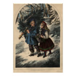 Two children collecting a Christmas tree and ivy Print