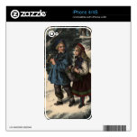 Two children collecting a Christmas tree and ivy Skins For The iPhone 4S