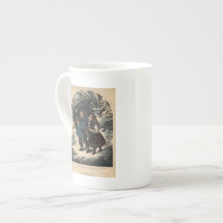 Two children collecting a Christmas tree and ivy Bone China Mugs