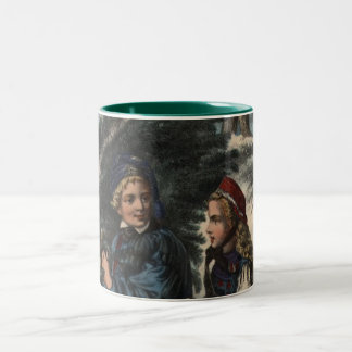Two children collecting a Christmas tree and ivy Two-Tone Coffee Mug