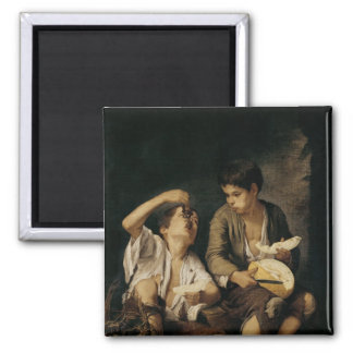 Two Children Eating a Melon and Grapes, 1645-46 2 Inch Square Magnet