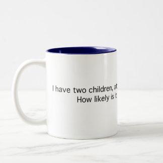 Two Children, One a Boy Two-Tone Coffee Mug