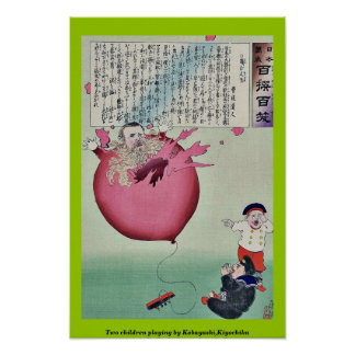 Two children playing by Kobayashi,Kiyochika Poster