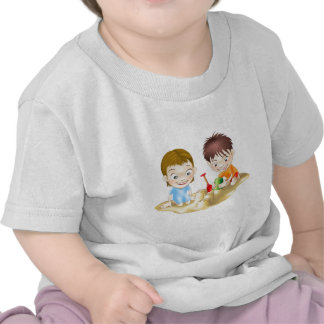 two children playing in the sand t shirt