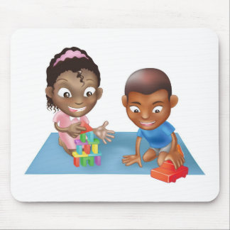 two children playing mouse pads