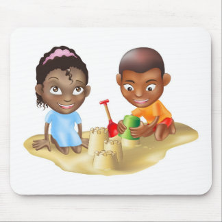two children playing on the beach mouse pad
