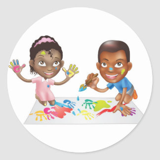 two children playing with paint sticker