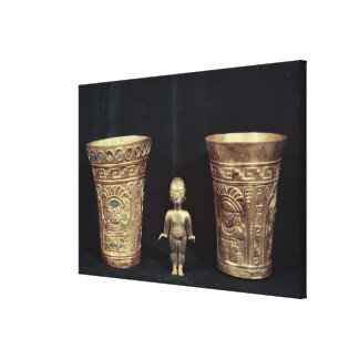 Two Chimu vases with mythological figures Canvas Print