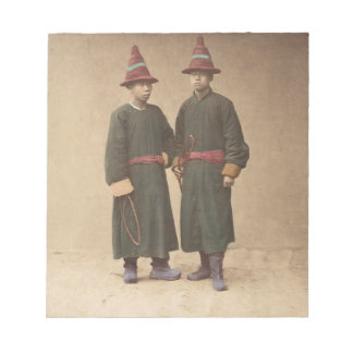 Two Chinese Men in Matching Traditional Dress Notepad